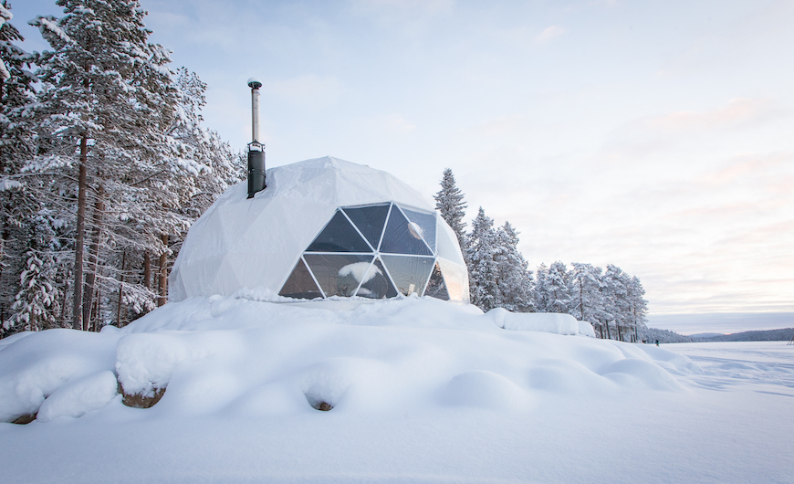 geodesic dome for glamping at Harriniva Hotels